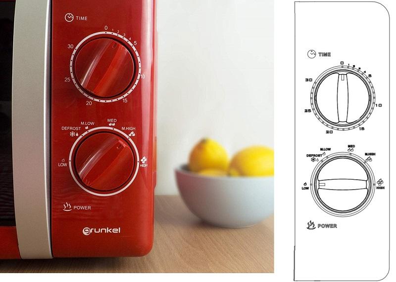microondas grunkel rojo controles